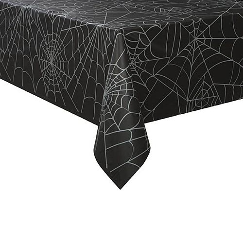 Black Spider Web Plastic Tablecloth - 2.13m
