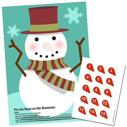 Pin the Nose on the Snowman Game with Stickers