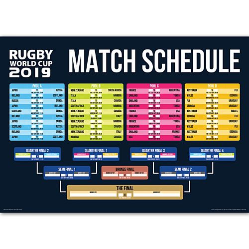 Rugby World Cup Japan 2019 Match Fixtures Poster - A3
