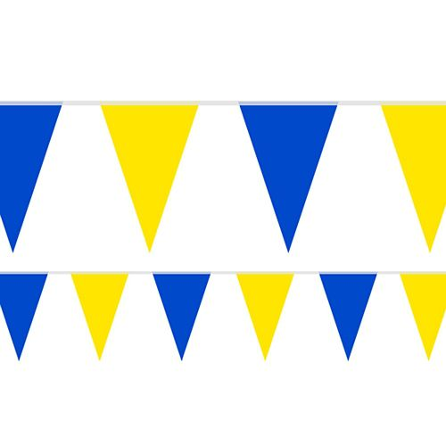 Royal Blue and Yellow Fabric Bunting - 54 Flags - 20m