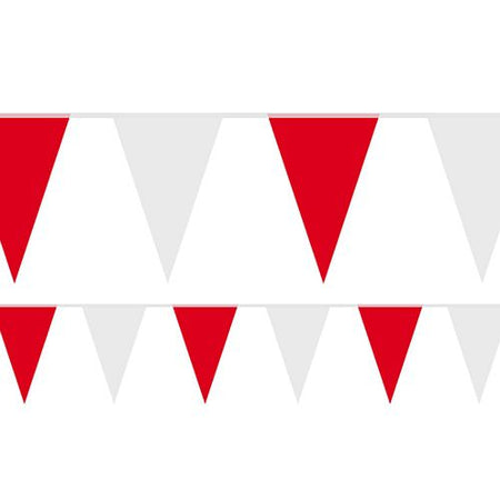 Red and White Fabric Bunting - 54 Flags - 20m