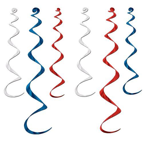 Red, White and Blue Twirly Whirlys - 91.4cm - Pack of 6