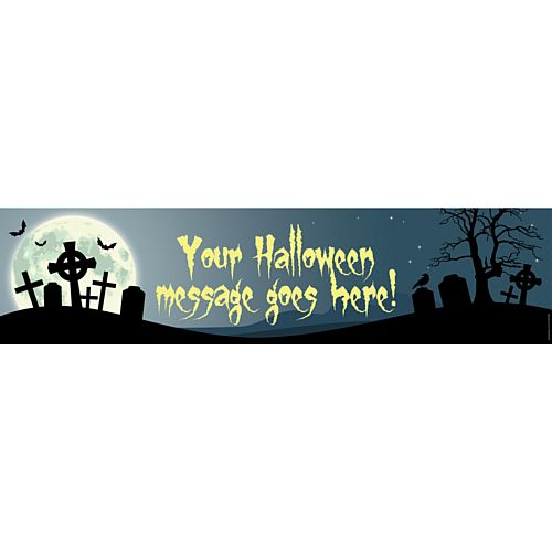 Haunted Graveyard Halloween Personalised Banner - 1.2m