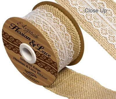 Hessian and White Lace Ribbon- 50mm Wide x 4.5m