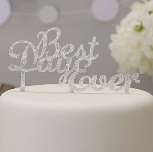 Silver Glitter 'Best Day Ever' Cake Topper