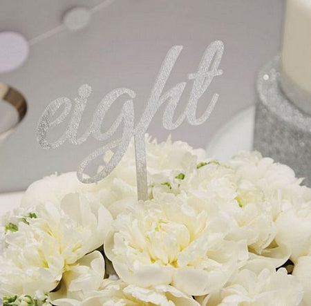 Silver Glitter Table Numbers 1-12