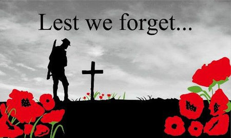 Lest We Forget Remembrance Day Cloth Flag - 5' X 3'