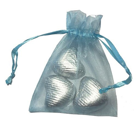 Favour Bag with 3 Chocolates- Pale Blue - Pack of 10