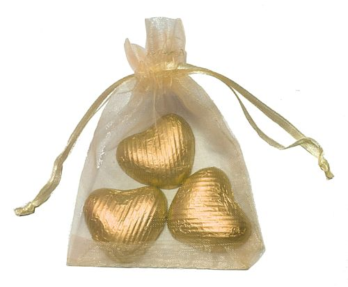 Favour Bag with 3 Chocolates- Gold - Pack of 10