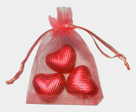 Favour Bag with 3 Chocolates- Red - Pack of 10