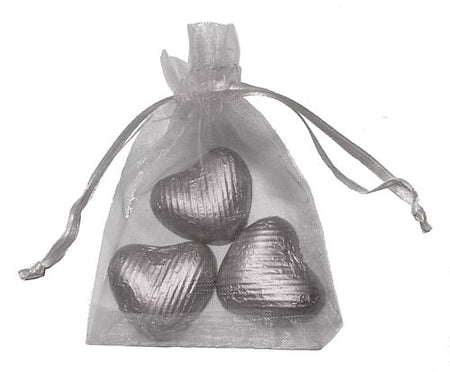 Favour Bag with 3 Chocolates- Silver- Pack of 10