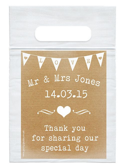 Personalised Brown Paper Rustic Card Insert Wth Sealed Party Bag - Each