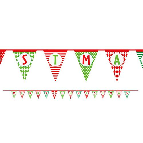 Merry Christmas Pattern Paper Flag Bunting - 4.25m