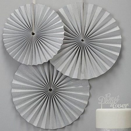 Pastel Perfection Silver Fan Decorations - 36cm - Pack of 3