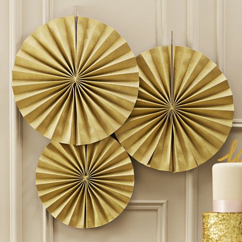 Pastel Perfection Gold Sparkle Fan Decorations - 36cm - Pack of 3