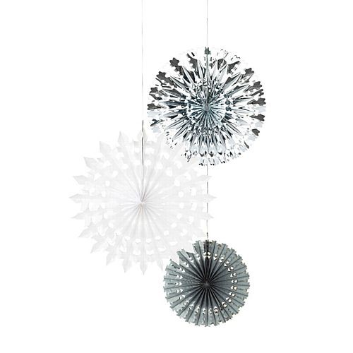 Decadent Decs Snowflake Tissue and Foil Fans - Pack of 3
