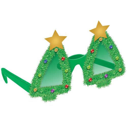 Tinsel Christmas Tree Glasses