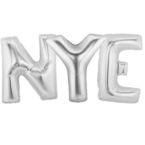 Silver Foil Balloons 'NYE' - Pack of 3