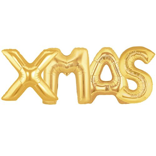 40cm Gold Foil Balloons 'XMAS' - Pack of 4