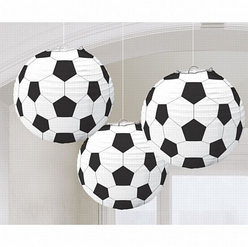 Football Paper Lanterns - 24cm - Pack of 3
