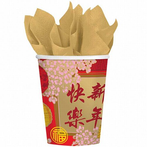 Chinese New Year Paper Cups - 266ml - Pack of 8