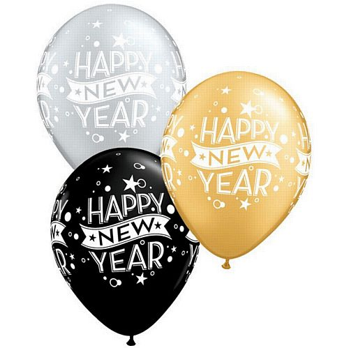Happy New Year Black, Silver and Gold Qualatex Balloons - 27.9cm - Pack of 10