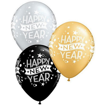 Click to view product details and reviews for Happy New Year Black Silver And Gold Qualatex Balloons 279cm Pack Of 10.