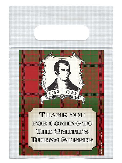 Personalised Tartan Card Insert With Sealed Party Bag - Each