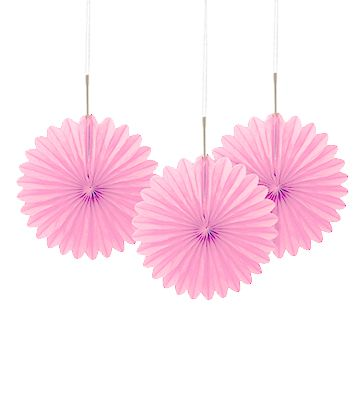 Light Pink Decorative Tissue Fans - 15.2cm - Pack of 3
