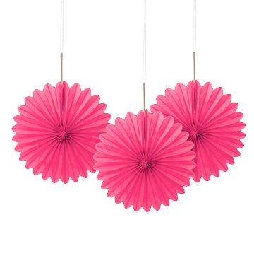 Hot Pink Decorative Tissue Fans - 15.2cm - Pack of 3