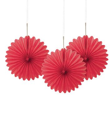 Red Decorative Tissue Fans - 15.2cm - Pack of 3