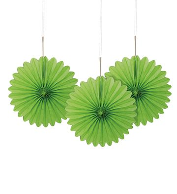 Lime Green Decorative Tissue Fans - 15.2cm - Pack of 3