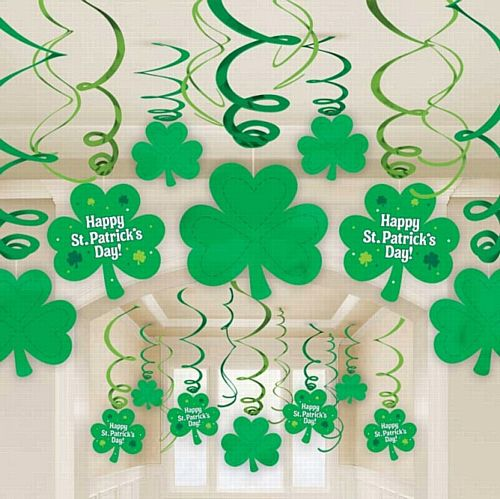 St. Patrick's Day Swirl Decorations - Pack of 30