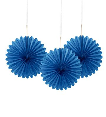 Blue Decorative Tissue Fans - 15.2cm - Pack of 3