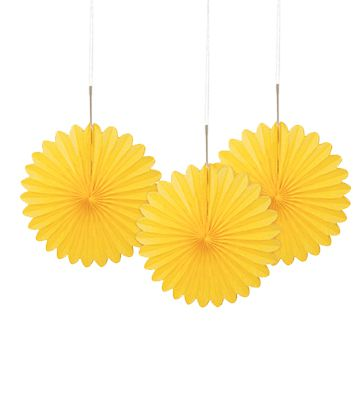 Sunflower Yellow Decorative Tissue Fans - 15.2cm - Pack of 3