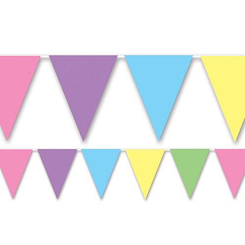 Pastel Multi-colour Pennant Bunting - All-Weather - 3.66m