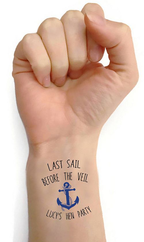 Personalised Hen Party Tattoos- Pack of 16 - 'Last Sail Before The Veil'