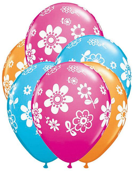 Daisies Printed Latex Balloons - 28cm - Pack of 10