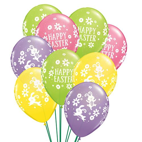 Easter Bunnies and Daisies Latex Balloons - 28cm - Pack of 10