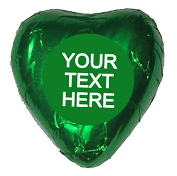 Personalised Heart Chocolates- Green - Pack of 24
