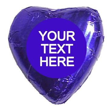 Personalised Heart Chocolates- Royal Blue - Pack of 24