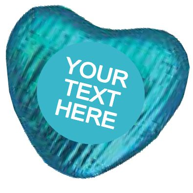 Personalised Heart Chocolates- Turquoise - Pack of 24