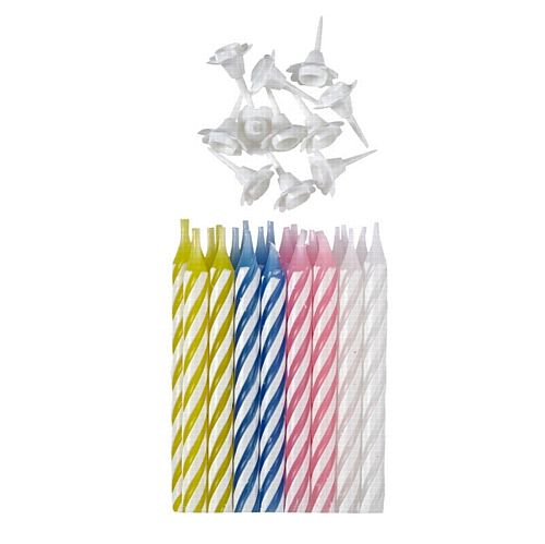 Assorted Striped Candles With Holders - Pack of 24