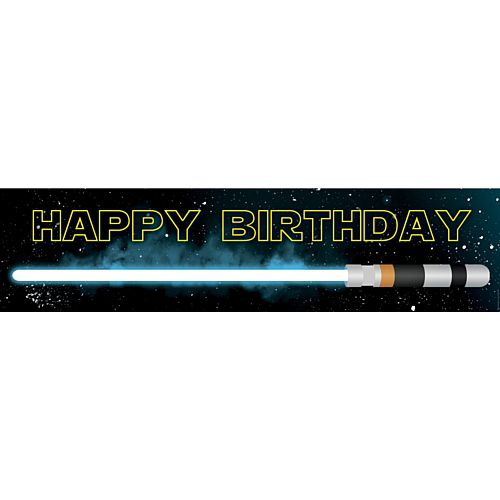 The Force Star Wars Themed Happy Birthday Banner - 1.2m
