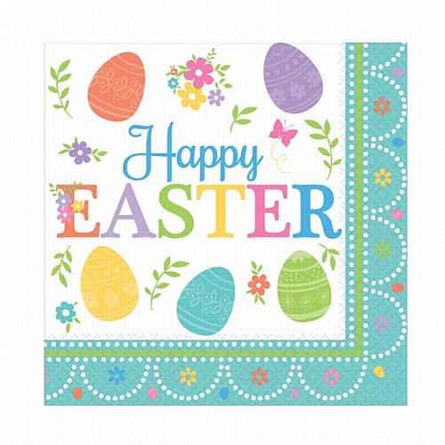 Happy Easter Luncheon Napkins - 33cm - Pack of 16