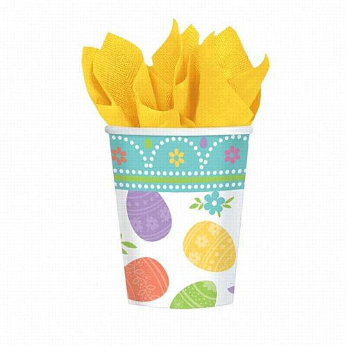 Happy Easter Paper Cups - 266ml - Pack of 8
