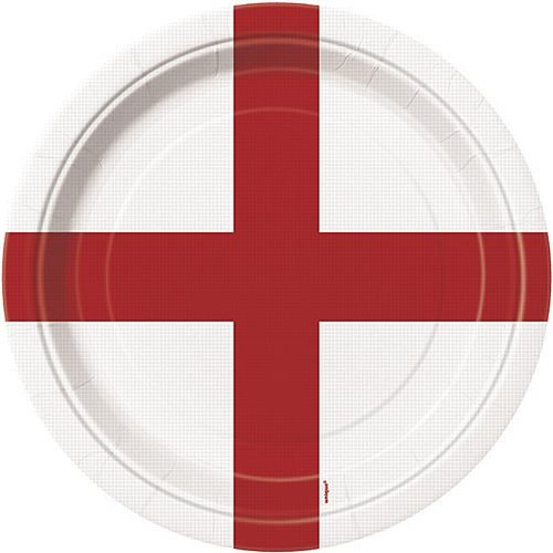 England St George's Flag Plates - Pack of 8 - 22.9cm