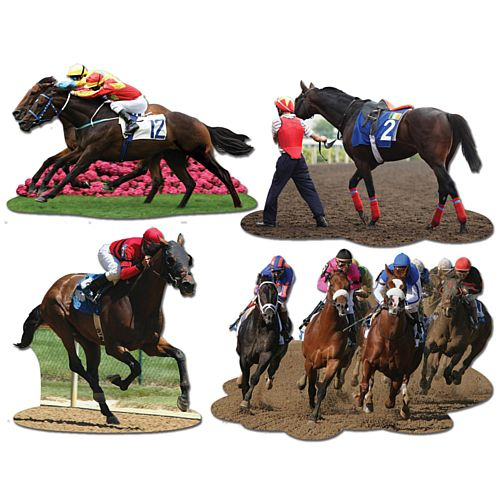 Horse Racing Cutouts - 35.6cm - Pack of 4