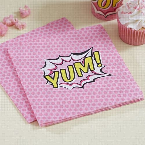 Pink Pop Art Napkins - 33cm - Pack of 16
