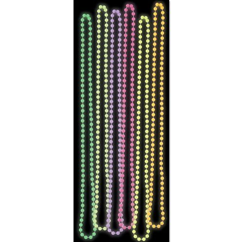 Glow In The Dark Party Beads - 83.8cm - Assorted Colours - Set of 6